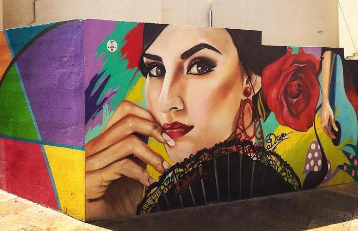 Et stykke gadekunst udført af den lokale fodboldklub –Málaga har masser af kant
