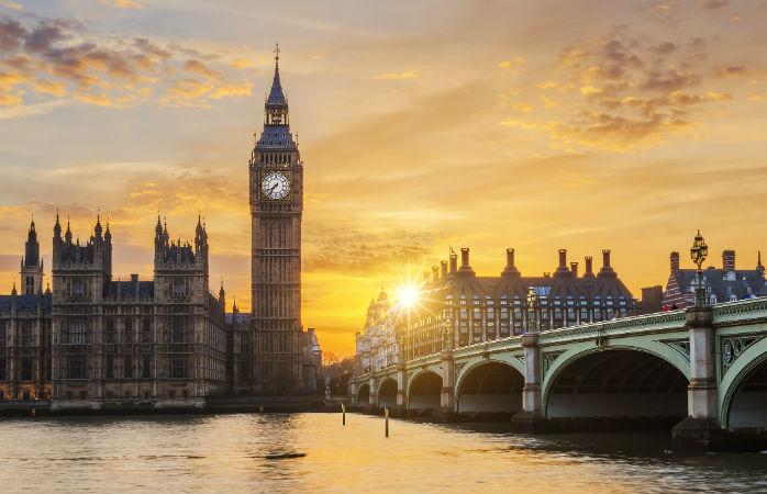 Big Ben ved solnedgang
