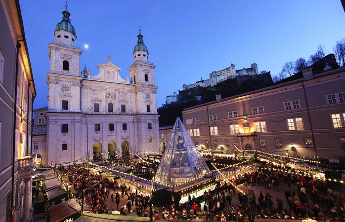 Salzburgs julemarked ligger på den pittoreske Residenzplatz
