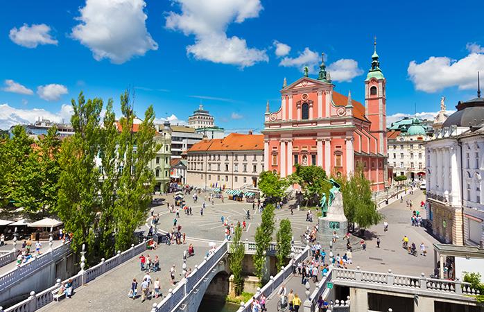 Bilfri og fuld af liv - Ljubljanas bymidte